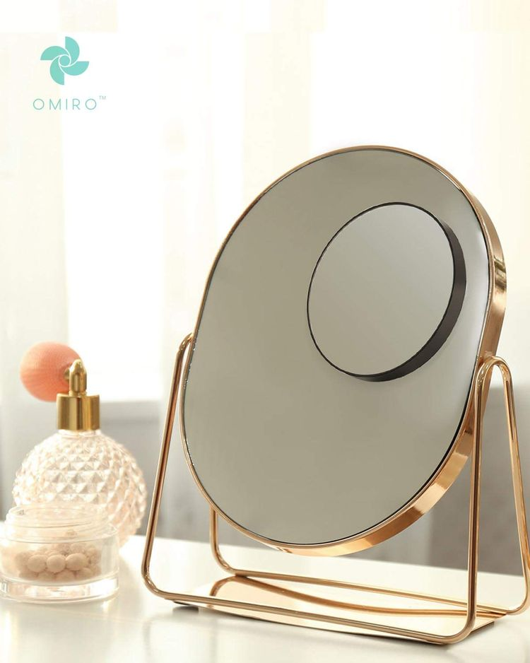 """OMIRO 10X Magnifying Mirror and Eyebrow Tweezers Kit, 3.5"""" Two Suction Cups Magnifier Travel Set"""