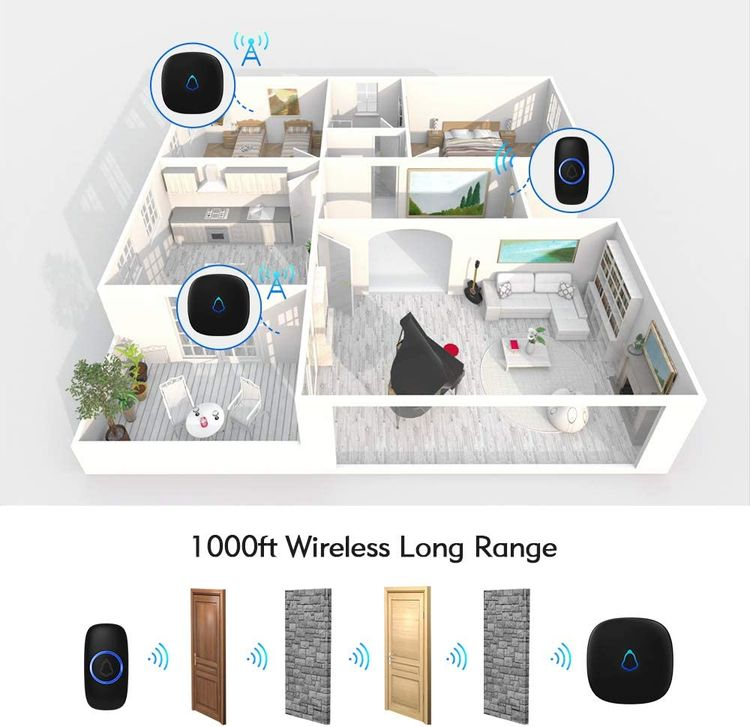 Wireless Doorbell, Waterproof Mini Doorbell 1,000ft Range Loud Enough with 4 Volume Levels and Mute Mode Door Chimes & Colorful LED Flashing - Black