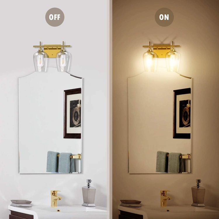 UL-Listed 2-Light Bathroom Vanity Light Fixtures JACKYLED Indoor Wall Mount Wall Sconce Brass Vanity Light with Clear Glass Shade for Bathroom Makeup Dressing Table