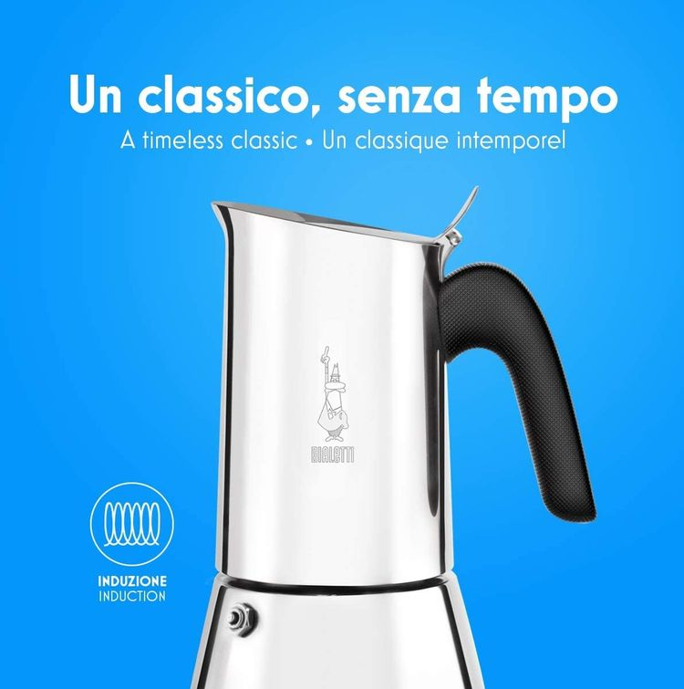 Bialetti New Venus Induction, Stovetop Coffee Maker, 18/10 Steel, 4-Cup Espresso, suitable for all types of hobs