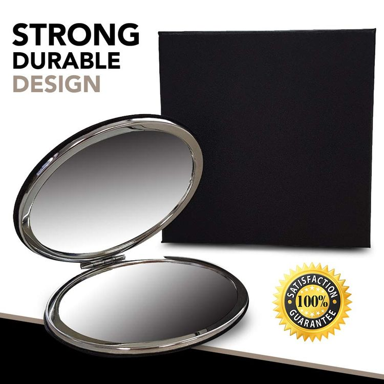Compact Travel Makeup Magnifying Mirror - BelleJiu Small portable folding Mirror with Handheld and Easy to carry Black