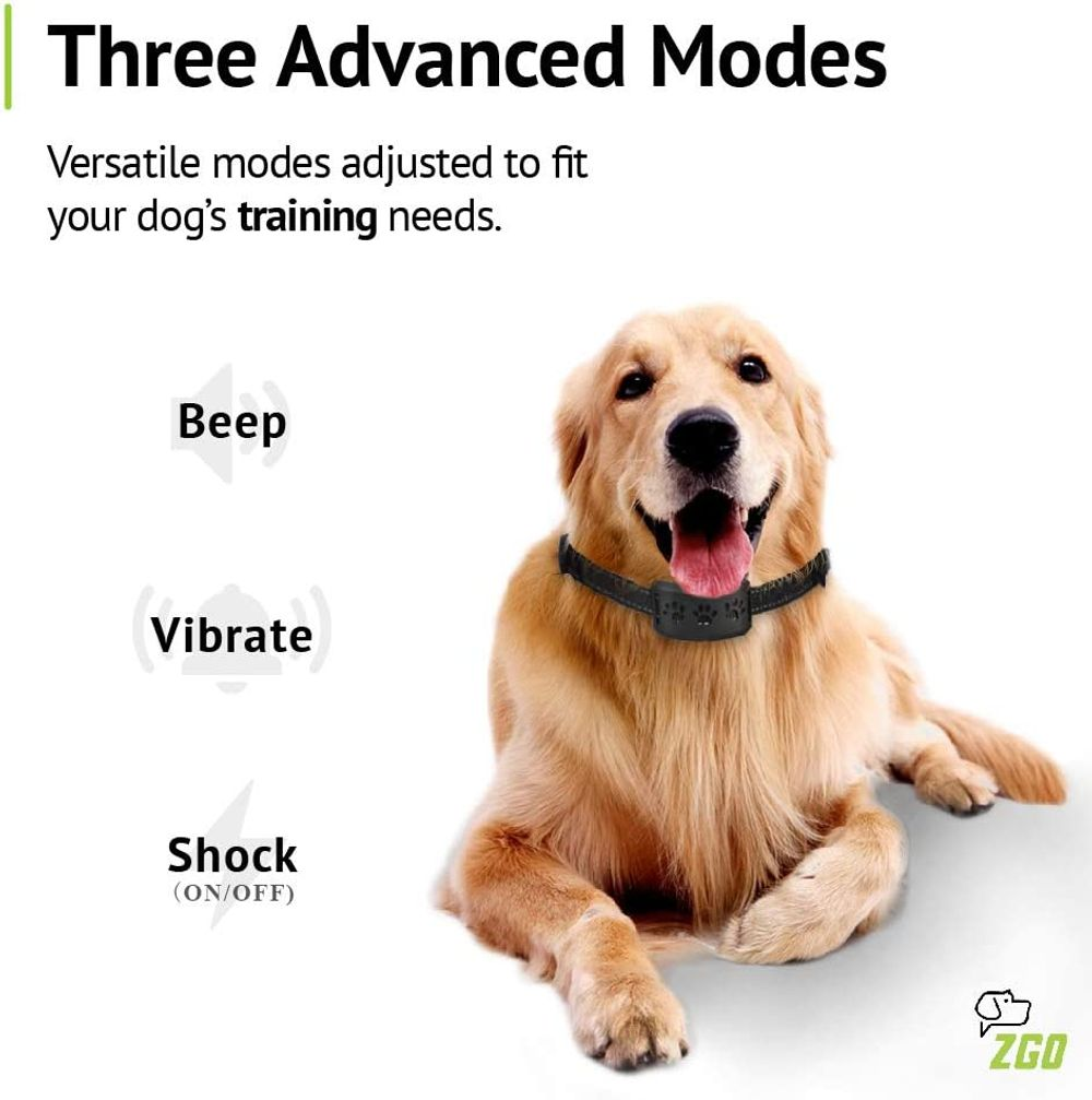 ZGO Dog Bark Collar, Rechargeable Waterproof Anti Barking Shock Collar, 7 Adjustable Sensitivity Levels for Small Medium Large Dogs, No Bark Collars with 3 Modes, Beep Vibration Shock(ON/Off)
