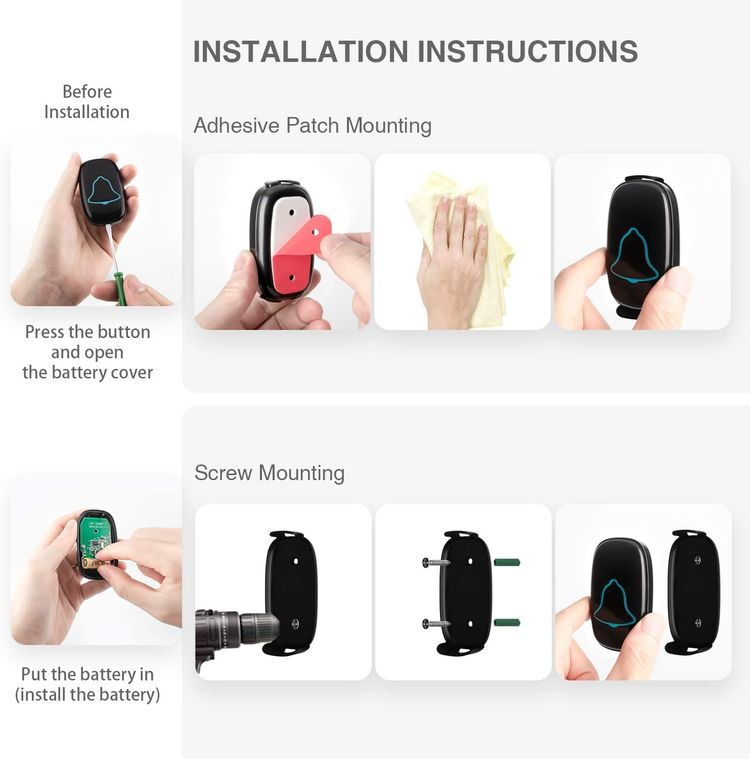 Wireless Doorbell, BO YING Waterproof Door Bell, Easy Install, Operating at 1000ft Range with 38 Melodies to Choose, Adjustable Volume and LED Flash,1 Push Button(Battery included)&1 Receiver,Black