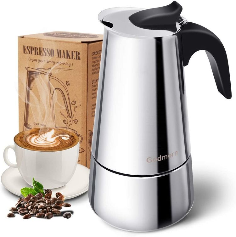Stovetop Espresso Maker, Moka Pot, Godmorn Italian Coffee Maker 200ml/6.7oz/4 cup (espresso cup=50m), Classic Cafe Percolator Maker, 430 Stainless Steel, Suitable for Induction Cookers