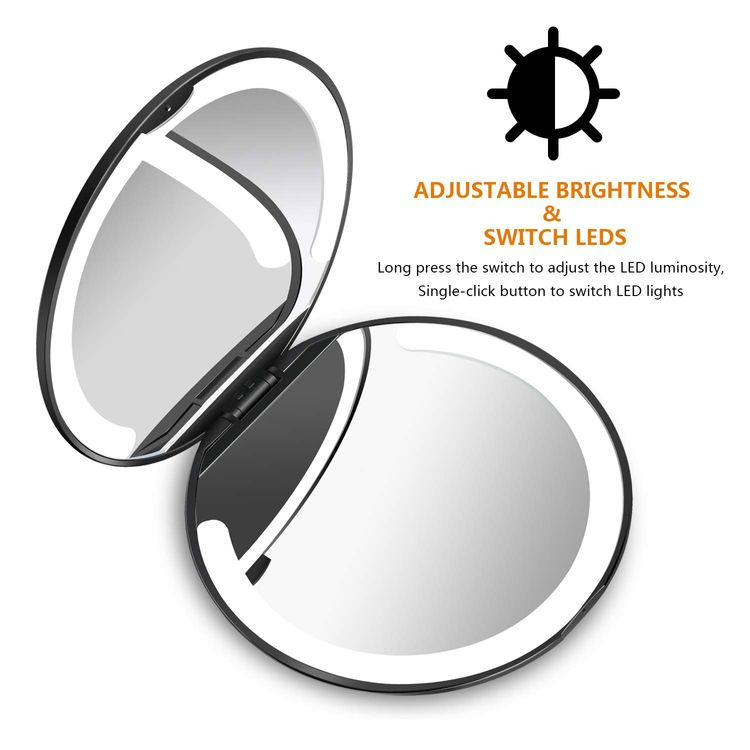LED Lighted Travel Makeup Mirror Foldable, Dual Sided Vanity Mirror with Lights Portable Compact Illuminated Folding Tabletop Cosmetic Mirror, 1x/5x Magnifying Handheld Pocket Mirrors(2021 Upgrade)