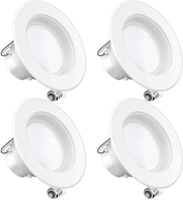 Sunco Lighting 4 Pack 4 Inch LED Recessed Downlight, Baffle Trim, Dimmable, 11W=40W, 2700K Soft White, 660 LM, Damp Rated, Simple Retrofit Installation - UL + Energy Star