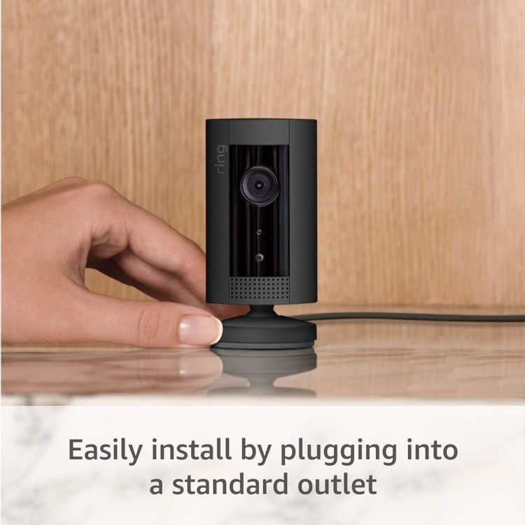 Ring Indoor Cam, Compact Plug-In HD security camera with two-way talk, Works with Alexa - Black