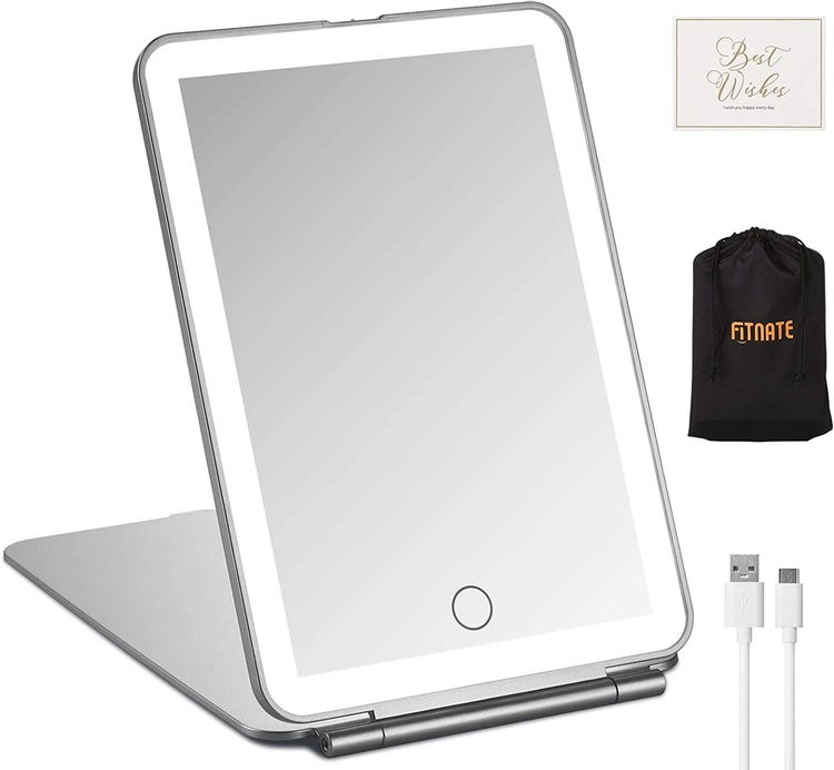 LED Folding Makeup Mirror for Travel, FITNATE Portable Vanity Mirror Compact, Lighted, Rechargeable, Illuminated Mirror Perfect for Travel, Makeup & Beauty Needs Gift Pack Silver Mirror in The Palm