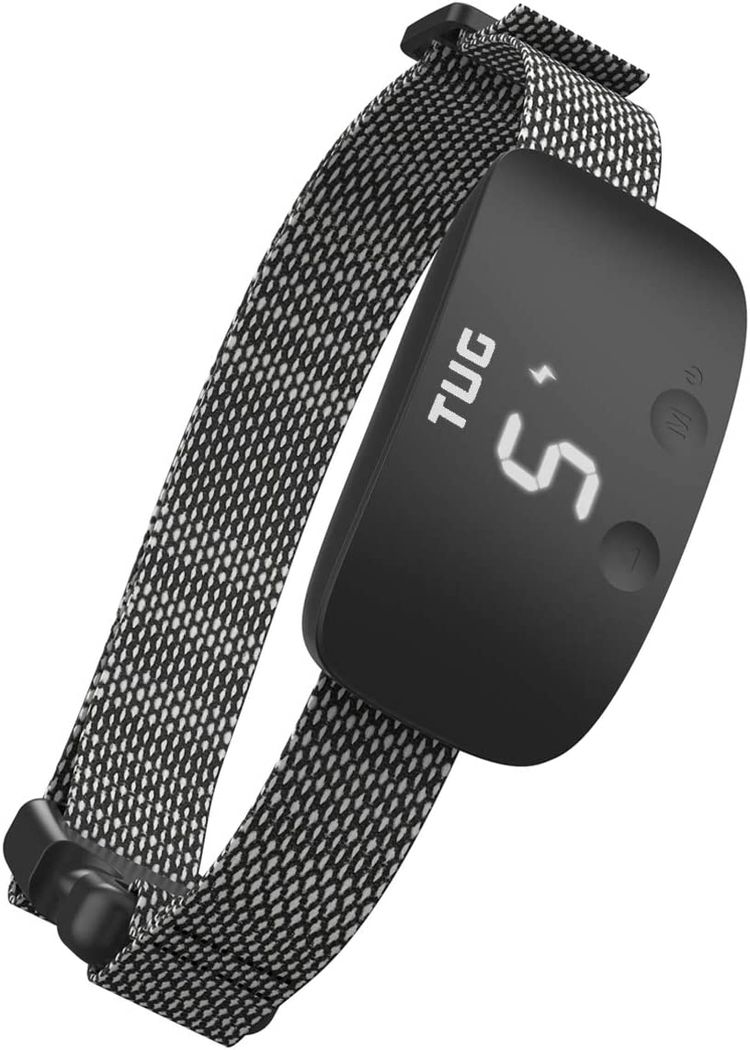 TUG Rechargeable Bark Collar; Adjustable Modes; Waterproof; Exclusive Easy Touch Interface - Buttons on Front of Device to Adjust While Being Worn (Black)