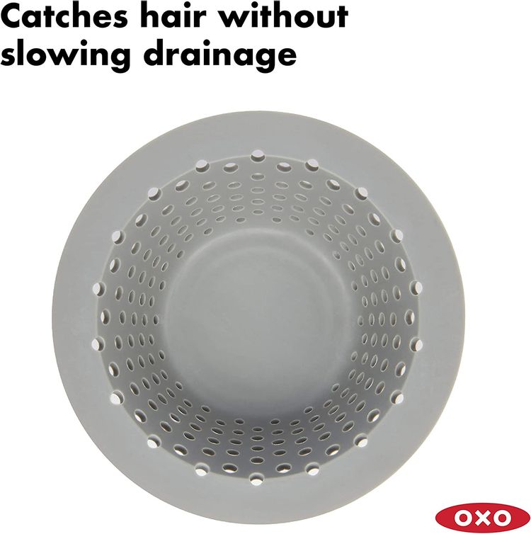 OXO Good Grips Silicone Drain Protector for Pop-Up & Regular Drains, Grey, One Size