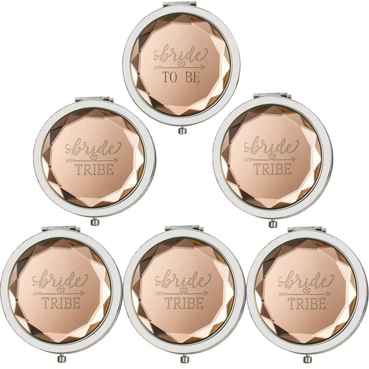 Cuterui Bridesmaid Gifts Bride Tribe Compact Makeup Mirrors for Bachelorette Bridal Shower Gifts(Pack of 6,Champagne)