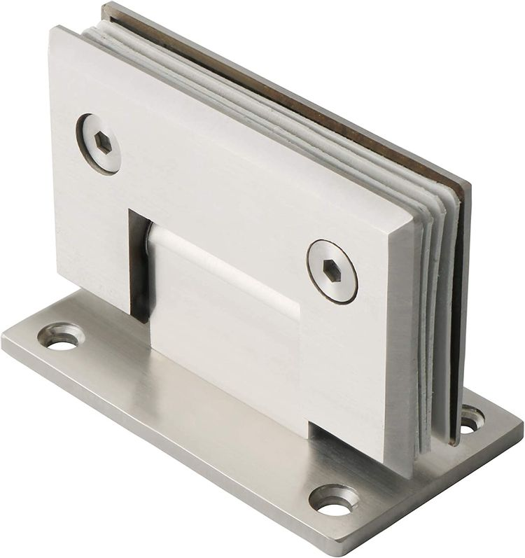 Alise Glass Shower Doors Hinge Heavy Duty 4-mm Thicken SUS304 Stainless Steel 90 Degree Glass Door Cupboard Showcase Cabinet Clamp Replacement Part Wall-to-Glass,Brushed Nickel