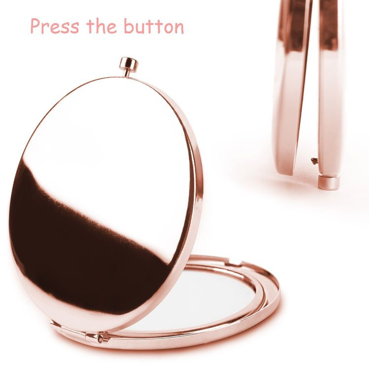 Rose Gold Travel Purse Mirror Compact Double Sides 2X & 1x Magnification Hand Mirror Metal Round Bohemian Mirror for Women and Girls (American Flag)