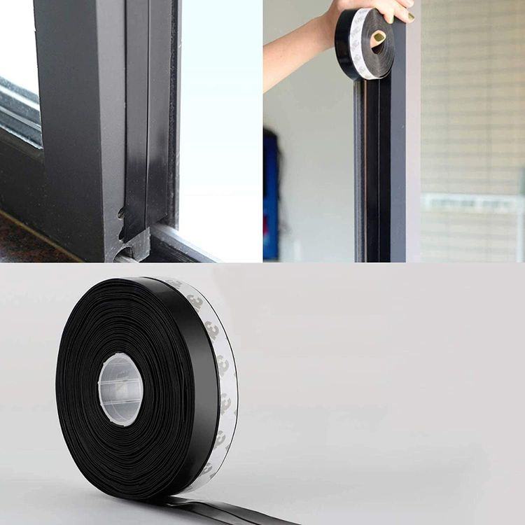26 Feet Silicone Seal Strip, Door Weather Stripping Door Seal Strip Window Seal Silicone Sealing Tape for Door Draft Stopper Adhesive Tape for Doors Windows and Shower Glass Gaps (Black, 45MM)