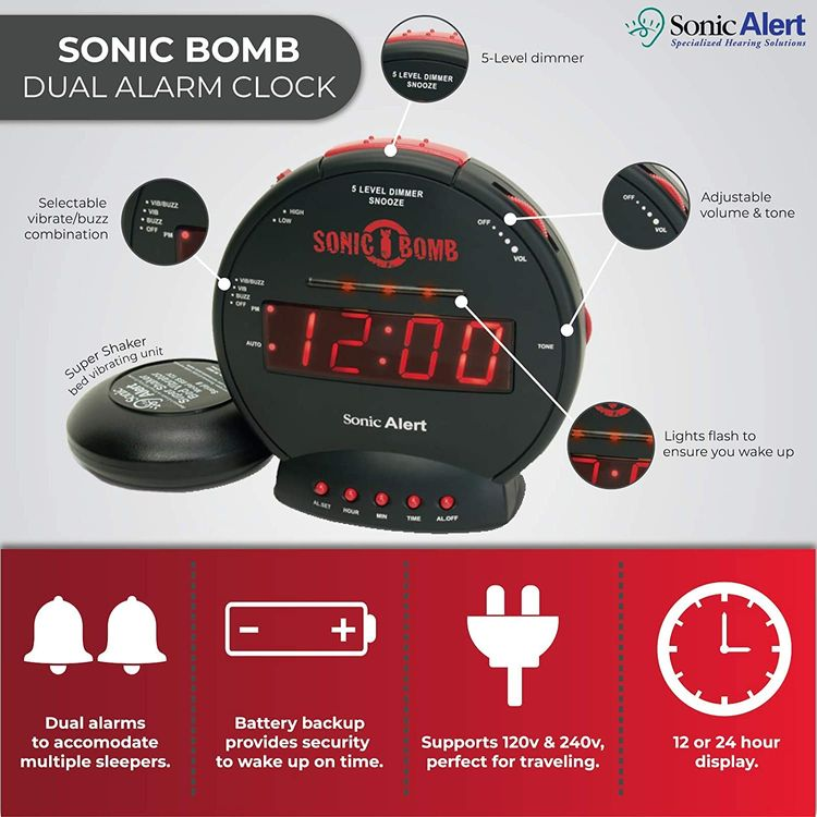 Sonic Bomb Dual Alarm Clock with Bed Shaker, Blue   Sonic Alert Vibrating Alarm Clock Heavy Sleepers, Battery Backup   Wake with a Shake