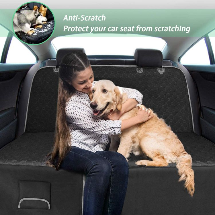 Mancro Car Seat Covers for Dogs, Car Seat Cover for Back Seat with Side Flaps, Convertible Scratch Proof Pet Seat Cover Hammock, Durable Soft Seat Protector for Cars Trucks SUVs