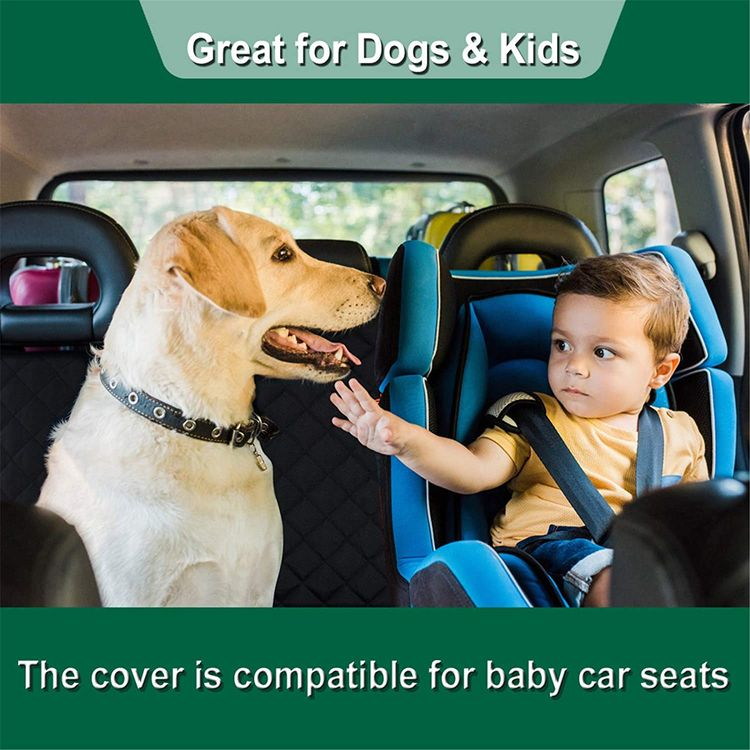ZQ Dog Car Seat Covers - Nonslip Rear Seat Cover for Kids Waterproof Pet Bench Seat Cover with Middle Seat Belt Capable for Cars, Trucks and SUVs