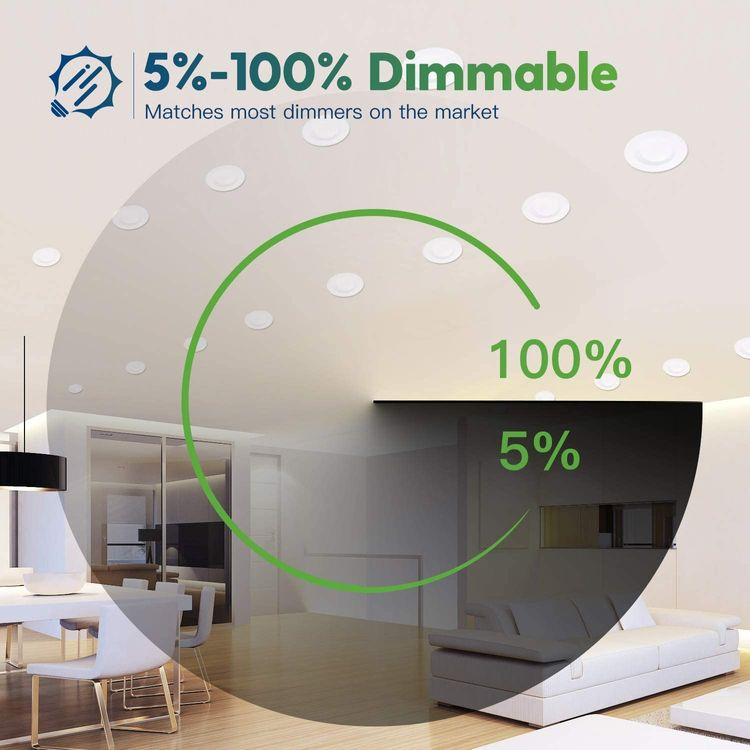 Freelicht 10 Pack 5/6 Inch Slim LED Downlight with Junction Box, 15W=110W, 1200 LM, Dimmable, 3000K Warm White Recessed Lighting, Simple Retrofit Installation - ETL