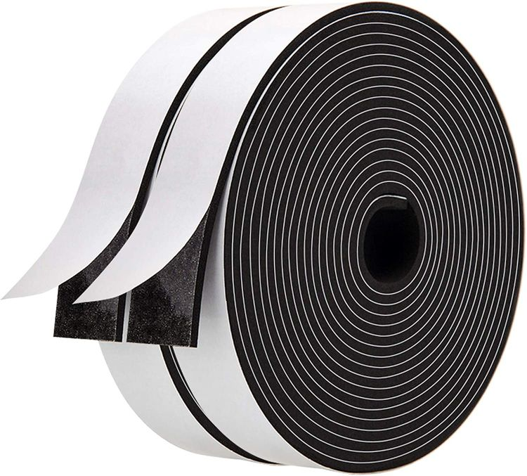 Foam Strips with Adhesive-2 Rolls, 1 Inch Wide X 1/8 Inch Thick,Neoprene Weather Stripping High Density Foam Tape Seal for Doors and Windows Insulation,Total 33 Feet Long(16.5ft x 2 Rolls)