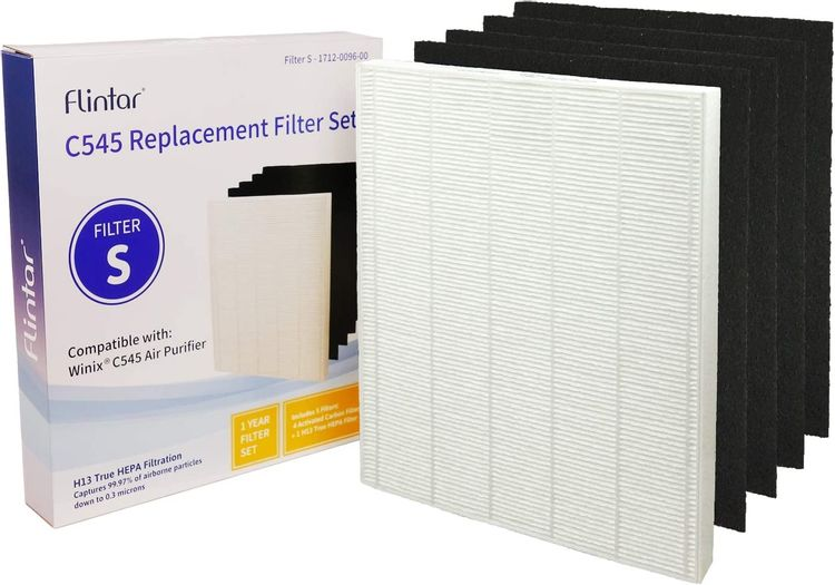 Flintar C545 True HEPA Replacement Filter S, Compatible with Winix C545 Air Purifier, Replaces Winix S Filter 1712-0096-00, H13 Grade True HEPA Filter + Activated Carbon Filters (1)