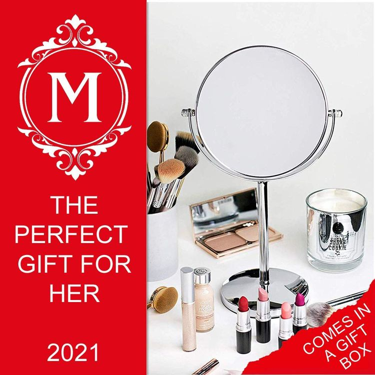 """Mirrorvana 10X and 1X Double Sided Magnifying Makeup Mirror with Stand, 14"""" Height and 7"""" Diameter"""