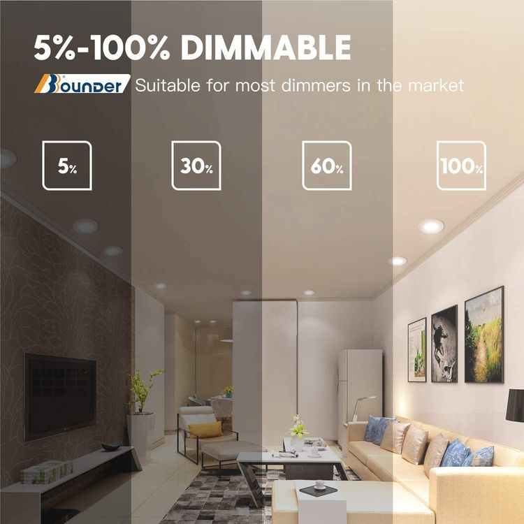 Bbounder Lighting 12 Pack 5/6 Inch LED Recessed Downlight, Baffle Trim, Dimmable, 12.5W=100W, 2700K Soft White, 950 LM, Damp Rated, Simple Retrofit Installation - UL + Energy Star No Flicker
