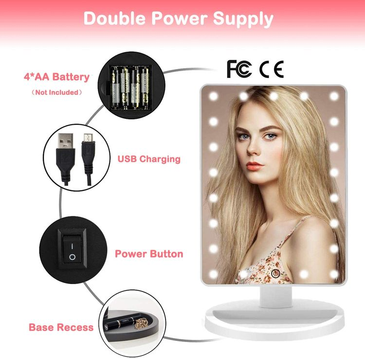 LED Lighted Makeup Mirror with 16 Led Lights Touch Screen Dimmable Brightness180 Rotation USB Battery Double Charge Countertop Cosmetics for Mothers Women Teen Girls Juniors
