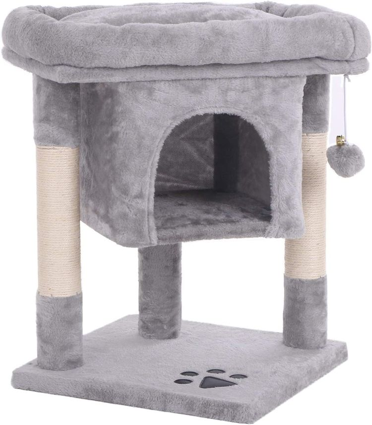 BEWISHOME Cat Tree Cat House Cat Condo with Sisal Scratching Posts, Plush Perch, Cat Tower Furniture Cat Bed Kitty Activity Center Kitten Play House