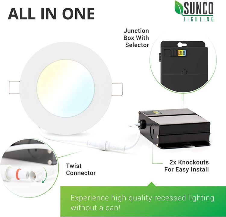 Sunco Lighting 4 Pack 4 Inch Slim LED Downlight with Junction Box, Select from 5 Colors (2700k/3000k/3500k/4000k/5000k), 10W=60W, 650 LM, Dimmable, Selectable Recessed Fixture, IC Rated - UL