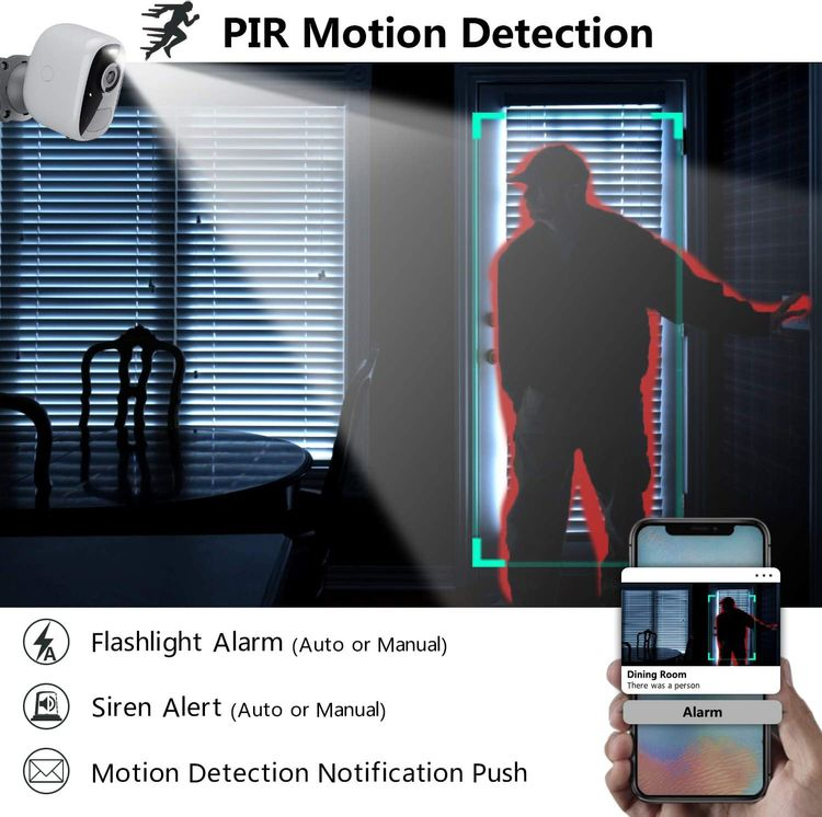 Wireless WiFi Security Camera for Outdoor/Home Battery Powered, 1080P Video/Color Night Vision/AI Motion Detection, Siren Alarm and Spotlight, 2-Way Audio, Waterproof, SD/Cloud