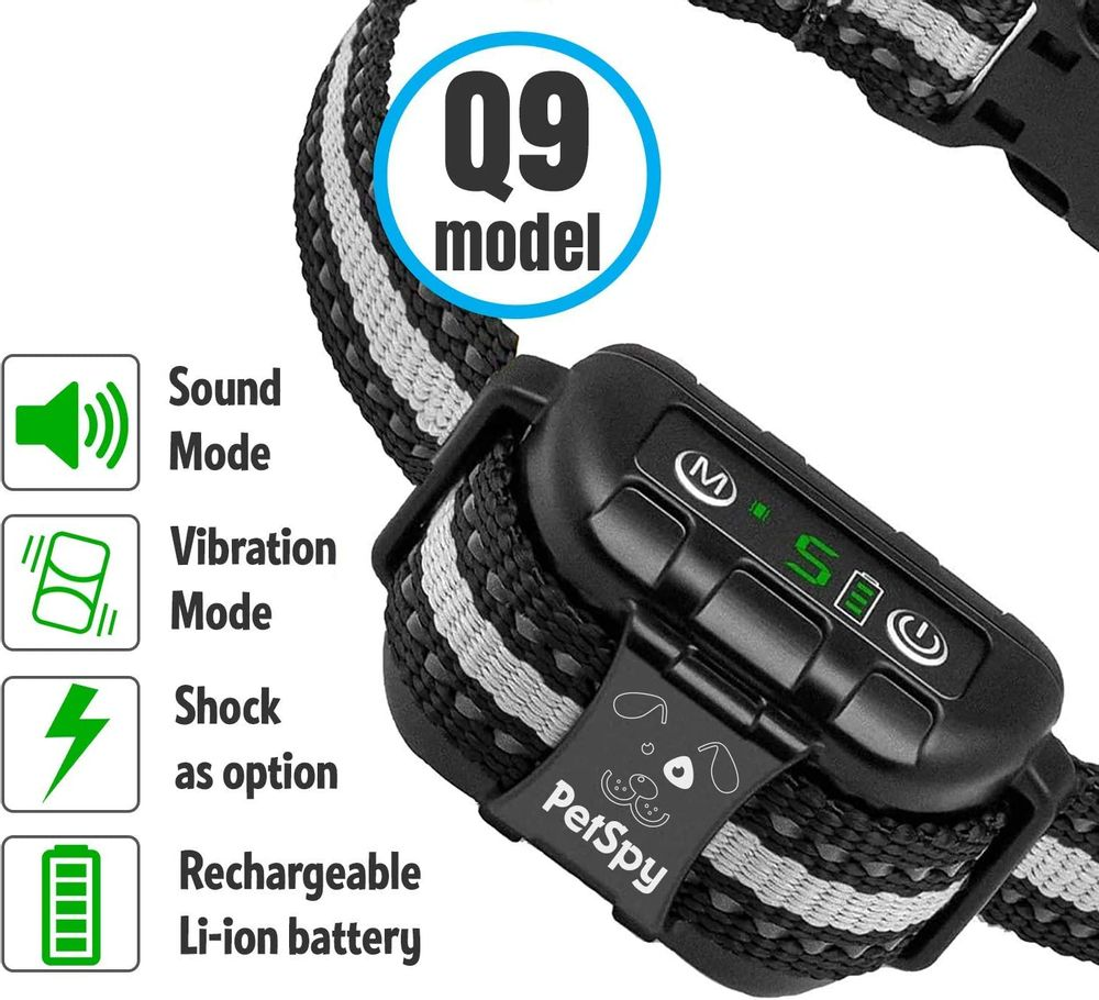 PetSpy Dog Bark Collar Smart 2 Pack Training Bundle with Shock Anti-Bark Collar for Stubborn Dogs and Humane No Shock Dual Vibration Barking Control Device for Small Medium Large Breeds
