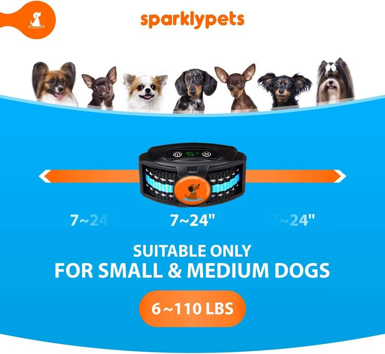 Rechargeable NO Shock Bark Collar for Small Dogs and Medium- Anti Barking Dog Collars with Beep and Vibration, The Smartest No-Pain Correction with 2 Modes: Vibration and Strong Vibration Mode