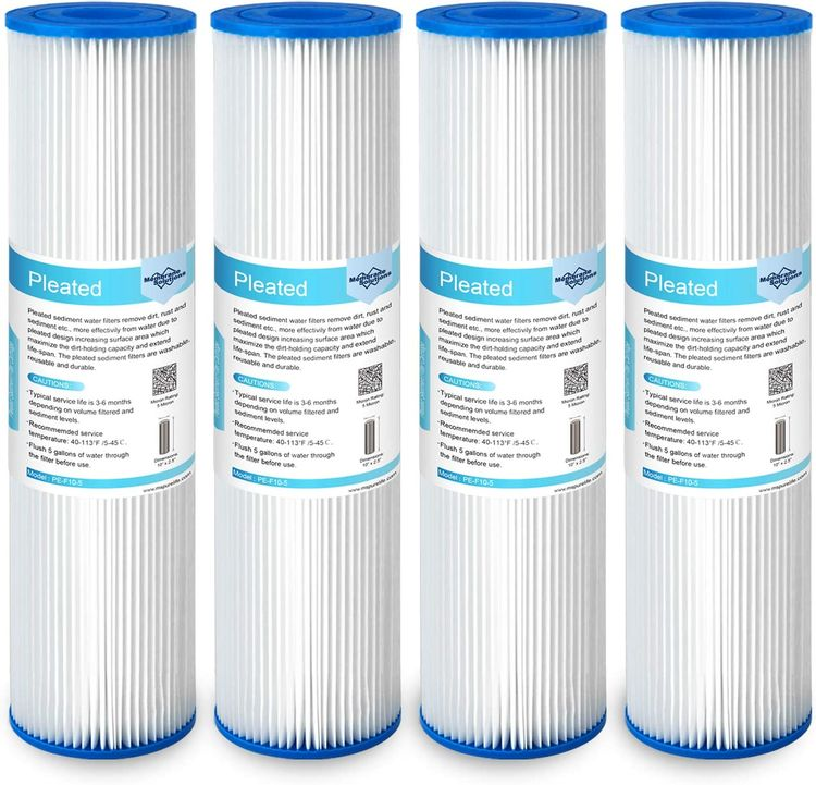"""Membrane Solutions 5 Micron Pleated Polyester Sediment Water Filter 10""""x2.5"""" Replacement Cartridge Universal Whole House Pre-Filter Compatible with W50PE, WFPFC3002, SPC-25-1050, FM-50-975 - 4 Pack"""