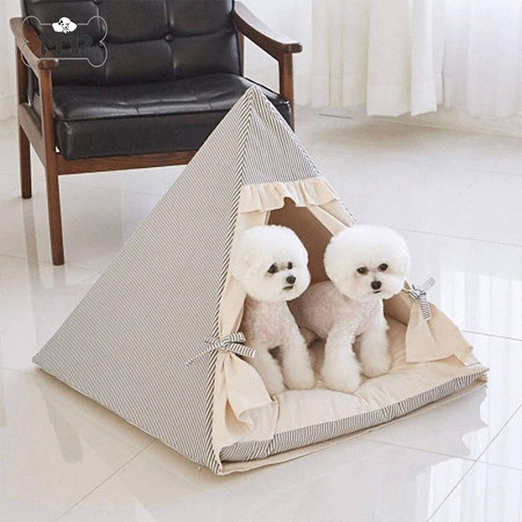 NC Pet Tent Collapsible Striped Triangle Cat and Dog House Cat and Dog House, Pet Play Bed