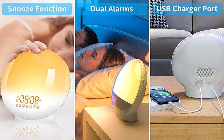 Wake Up Light Sunrise Alarm Clock, LBell Clock Radio, 7 Colored Night Light, Sunrise Simulation & Sleep Aid, Dual Alarm with FM, 7 Natural Sounds and Snooze for Kids Adults Bedrooms