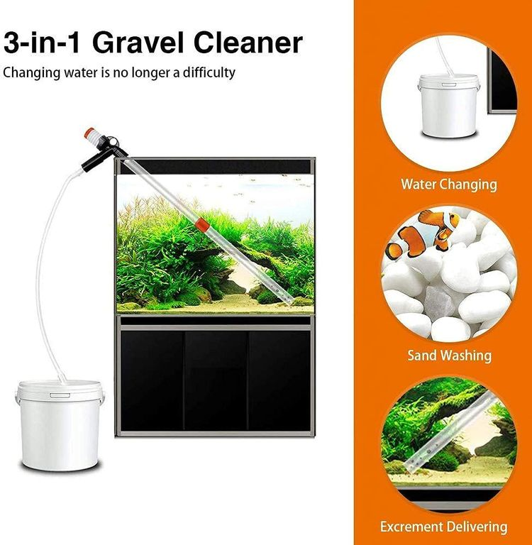 STARROAD-TIM Fish Tank Aquarium Gravel Cleaner Kit Long Nozzle Water Changer for Water Changing and Filter Gravel Cleaning with Air-Pressing Button and Adjustable Water Flow Controller- BPA Free