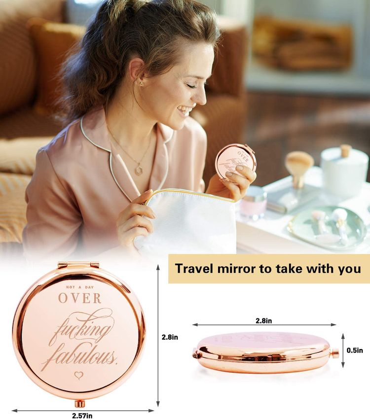 Birthday Gifts for Women Not a Day Over Fabulous Compact Mirror for Her - Funny Womens Gifts Ideas for Birthday - Unique Travel Compact Mirror for Women Friends Mom or Coworkers
