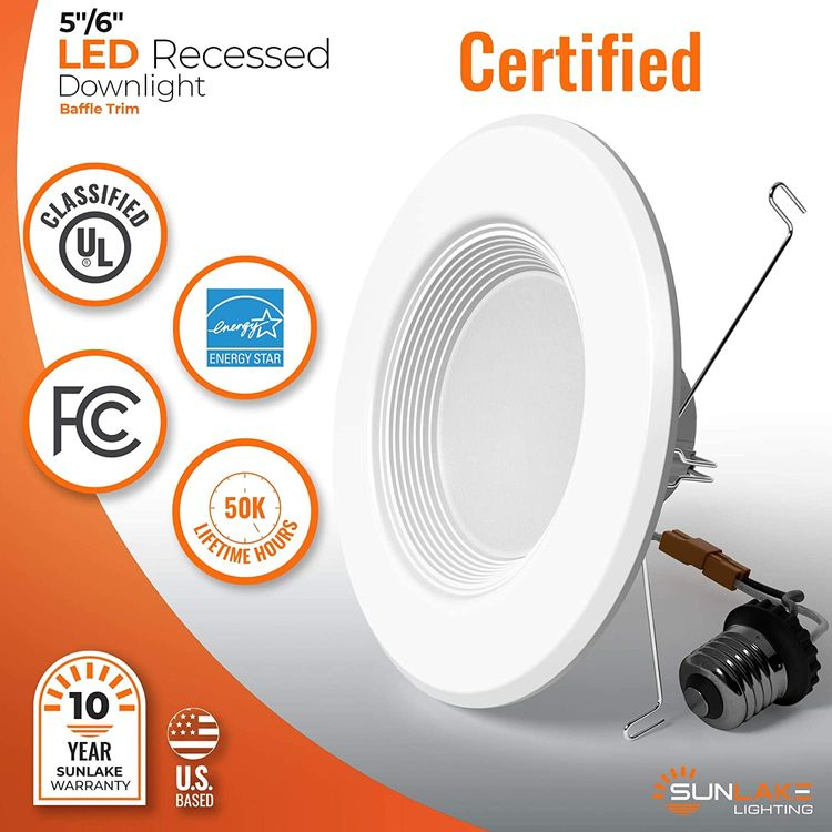 SunLake Lighting 12 Pack 5/6 Inch LED Recessed Downlight, Baffle Trim, Dimmable, 4000K Cool White, 12W=75W, 1080 LM, Wet Rated Waterproof, Retrofit Kit, UL + Energy Star