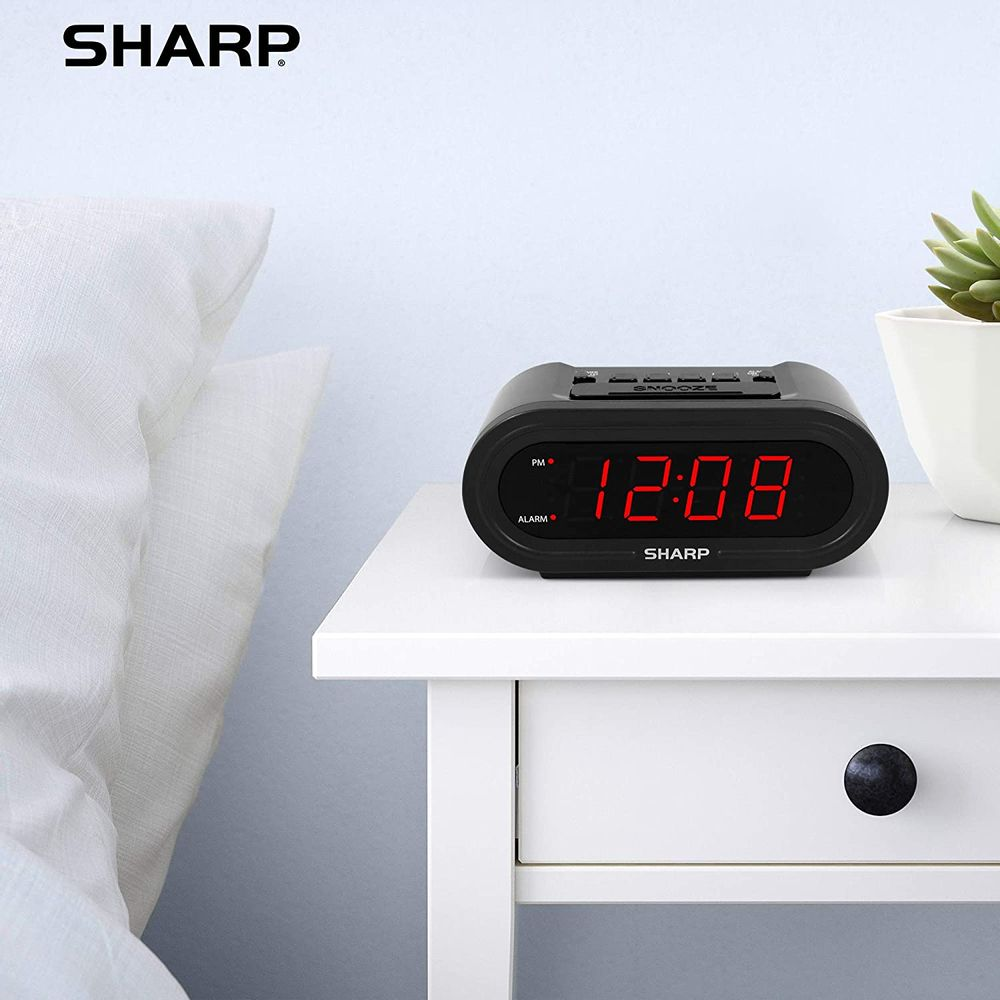 Sharp Digital Alarm with AccuSet - Automatic Smart Clock, Never Needs Setting - Great for Seniors, Kids, and Everyone who Doesn't Want to Set a Clock! Black Case with Green LEDs