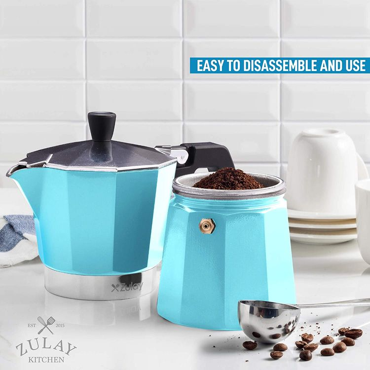 Zulay Classic Stovetop Espresso Maker for Great Flavored Strong Espresso, Classic Italian Style 5.5 Espresso Cup Moka Pot, Makes Delicious Coffee, Easy to Operate & Quick Cleanup Pot (Blue)