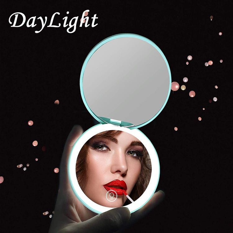 Kintion LED Compact Mirror,Rechargeable Compact Mirror with Light,1x/10x Magnification Dimmable Small Lighted Travel Makeup Mirror for Purse,Pocket,Gift,Touch Switch,Daylight,Portable Folding Handheld