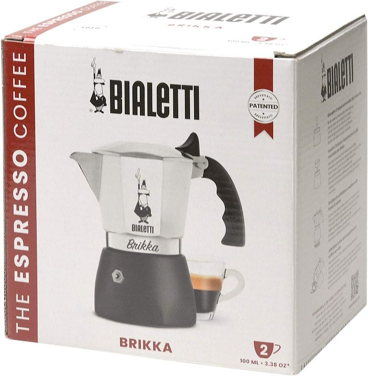 Bialetti New Brikka, Moka Pot, the only coffee maker capable of producing the cream of the espresso 2 Cups, Aluminum