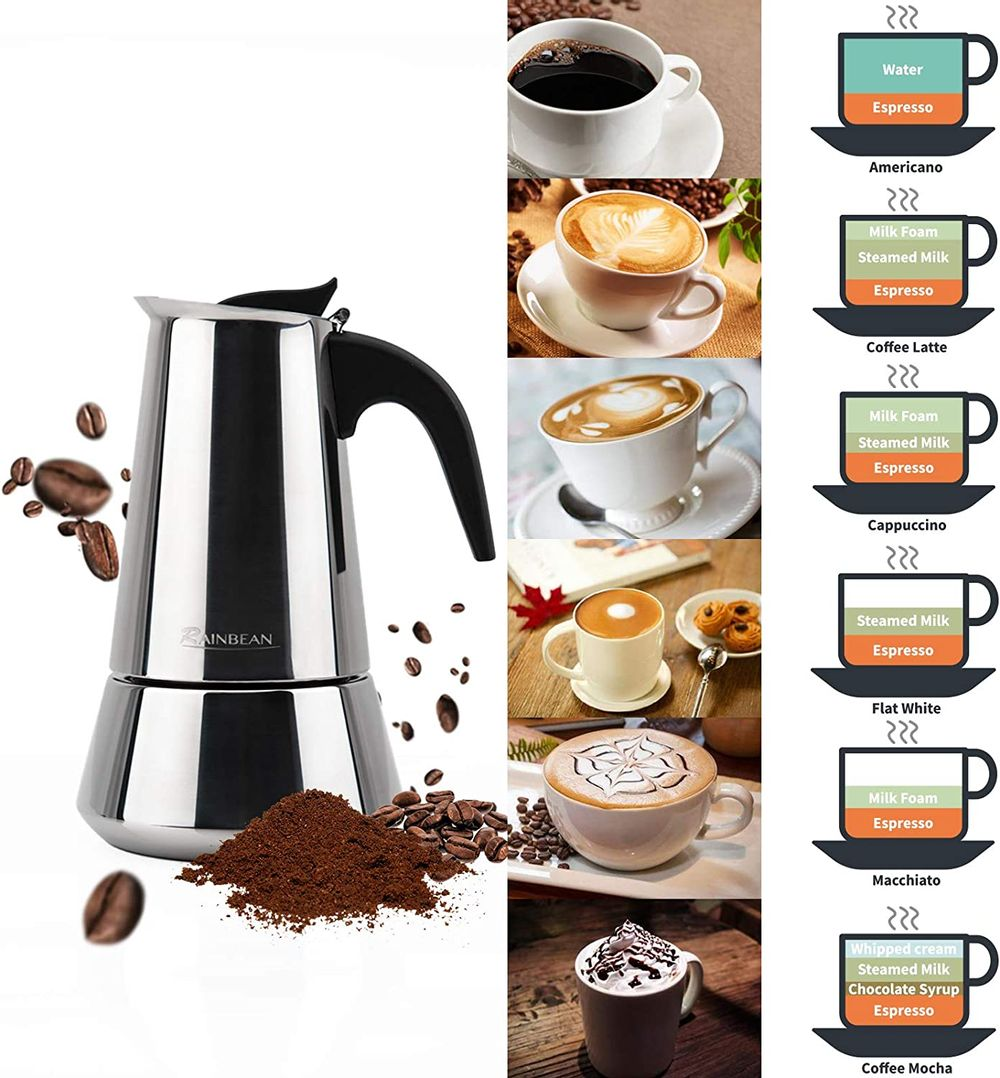 Stovetop Espresso Maker stainless steel 6 Cup Espresso Moka Pot for Full Flavored Espresso Percolator Italian Coffee Maker Stainless Steel Espresso Maker With gift package(2 cups,1 spoon)