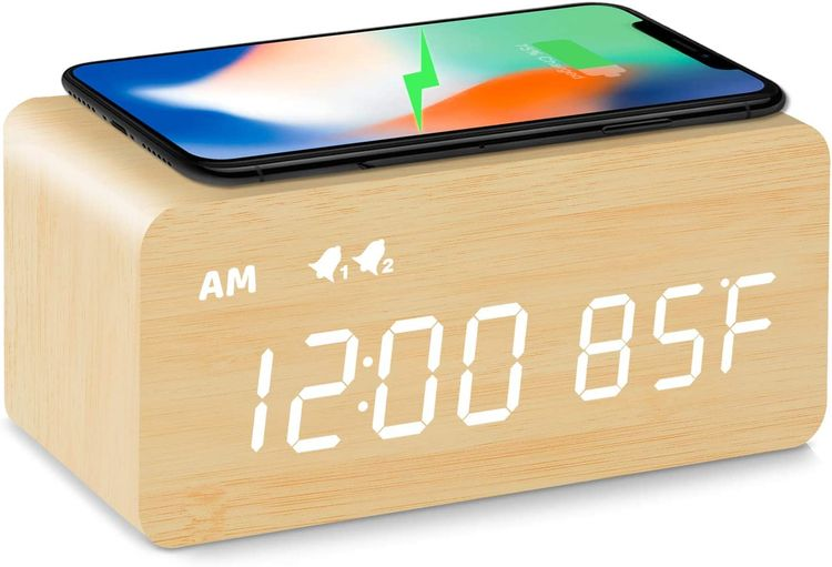 MOSITO Digital Wooden Alarm Clock with Wireless Charging, 0-100% Dimmer, Dual Alarm, Weekday /Weekend Mode, Snooze, Wood LED Clocks for Bedroom, Bedside, Desk, Kids (Bamboo)