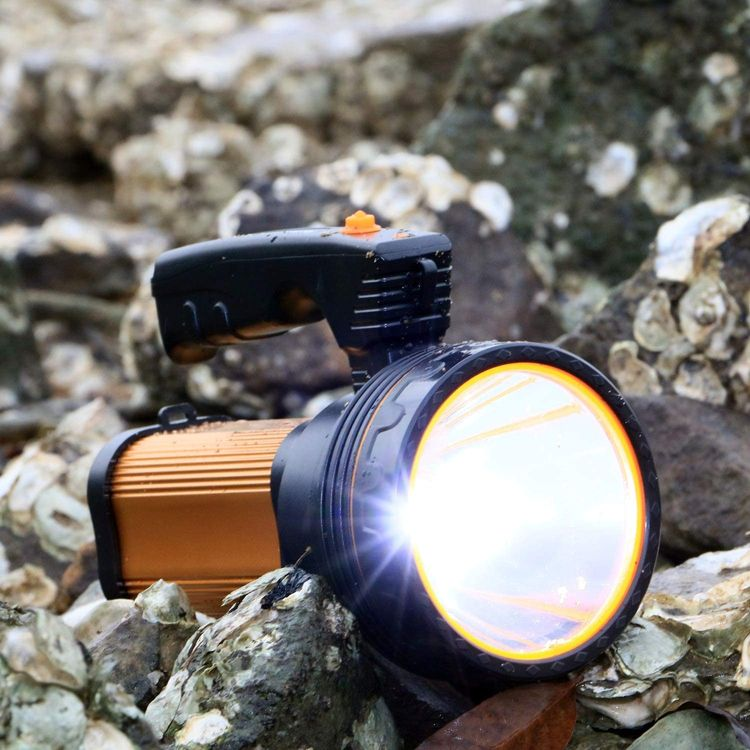 Rechargeable Torch 7000 Lumens LED Searchlight 6000mAh Super Bright Waterproof Handheld Flashlight Spotlight with USB Output as a Power Bank (Golden)