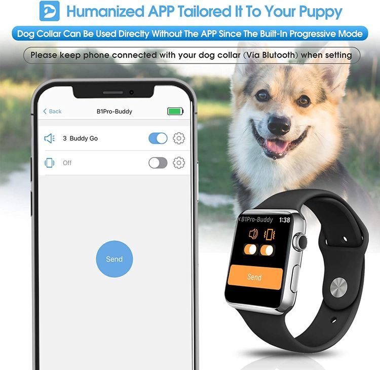 Dr.Trainer B1/B1Pro Bark Collar with Smartphone APP Control/Watch APP, Anti Barking Collar Smart Progressive Mode with Barking Report, Stop Barking Collar for Small Medium Large Dogs (No Shock)