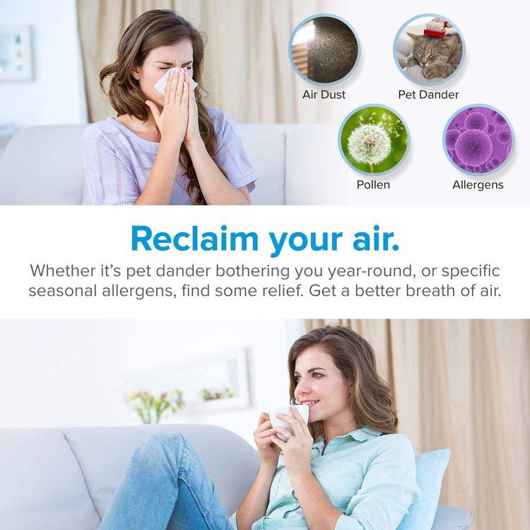 LEVOIT Air Purifier for Home, H13 True HEPA Filter for Allergies and Pets, Dust, Mold, and Pollen, Smoke and Odor Eliminator, Cleaner for Bedroom with Optional Night Light, LV-H132, Black