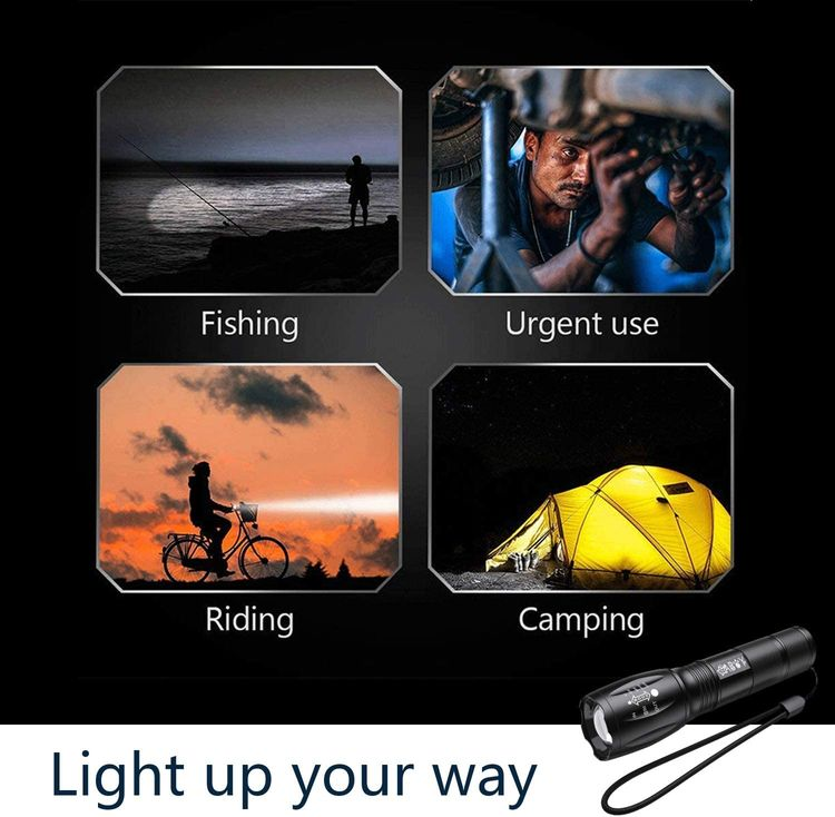 Flashlights, LED Tactical Flashlight Portable S1000 High Lumen with 5 Modes T6 Handheld Light Water Resistant Zoomable Best Camping Biking Hiking Outdoor Emergency for Night Fishing Travel [2 Pack]