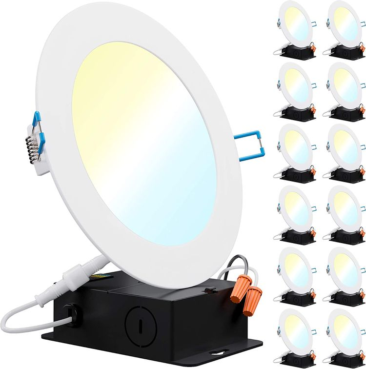 Sunco Lighting 12 Pack 6 Inch Slim LED Downlight with Junction Box, Select from 5 Colors (2700k/3000k/3500k/4000k/5000k), 14W=100W, 850 LM, Dimmable, Selectable Recessed Fixture, IC Rated - UL