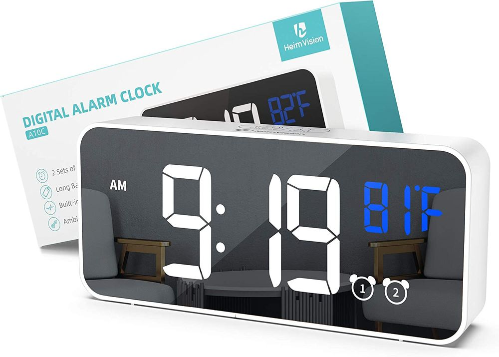 HeimVision LED Digital Alarm Clock, A10C Dual Alarm, 5 Brightness&13 Ringtones, 12/24H, Bedside Clock with Built-in Sound Senor, Temperature, Snooze, Portable Clock for Bedroom, Home and Travel